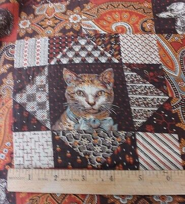"""Rare American 19thC Dog & Cat Printed """"Cheater"""" Cloth Fabric~Colllectors~2yds2""""L"""