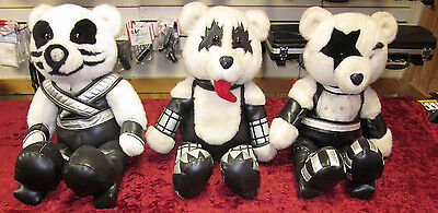 "3 Kiss Collectible Teddy Bears 18"" Tall Paul Stanley, Gene Simmons, Peter Criss"