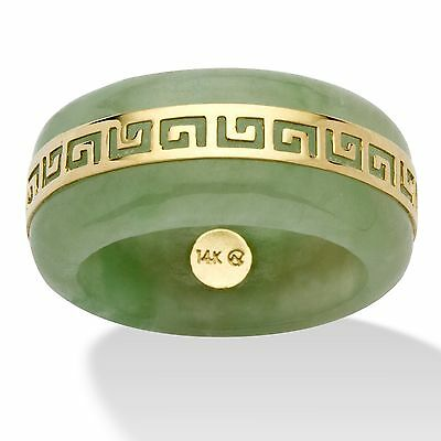 "PalmBeach Jewelry Genuine Green Jade 14k Yellow Gold ""Greek Key"" Ring"