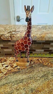 "Wood Giraffe Hand Carved 11.5"" Tall sculpture"