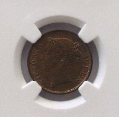 """1845 Straits Settlements 1/2 Cent With """"WW"""" NGC AU58 BN KM#2"""