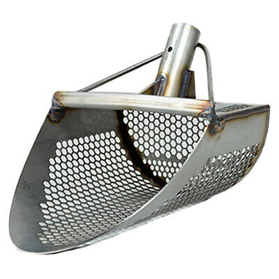 """T-Rex 9.5"""" Wide Stainless Steel Sand Scoop w/ 5/8"""" Holes for Metal Detecting"""