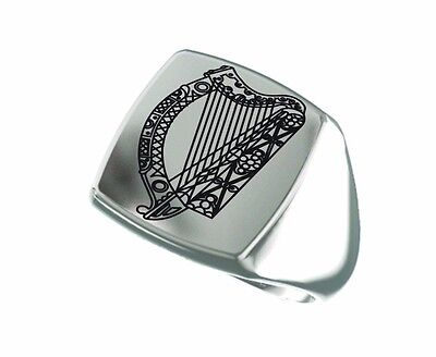 Ireland Harp Royal Coat Of Arms Irelad Engraved Square 925 Sterling Silver Ring