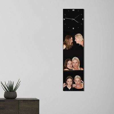 Custom made 29 x 116 cm canvas wall picture with your 3 photos + built-in clock
