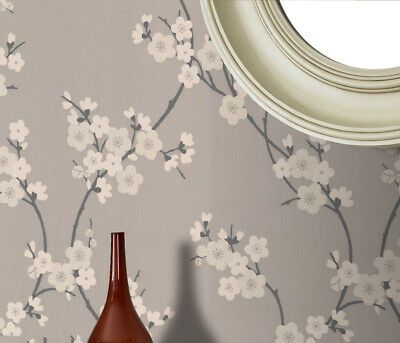 Superfresco Cherry Blossom Floral Taupe Metallic Glitter Wallpaper (Was £16)