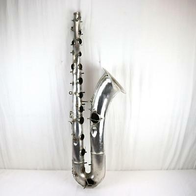 1925 Martin Bass Silver Conn Saxophone Marlin? Elkhart IN FOR PARTS Pan American