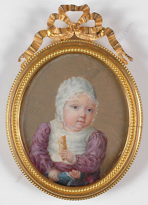 """Little Girl with Doll"", Fine French Portrait Miniature/organic wafer, ca.1820"