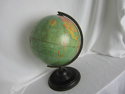 Antique Replogle World Globe 12 ins on stand 16 .5 ins tall 1950's Revolves