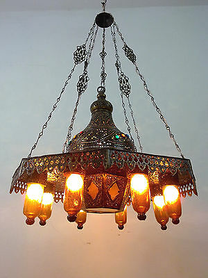 BR125 Old Arabian / Islamic Style Pendant Chandelier AMBER GLASS SHADES