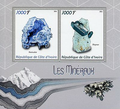 Ivory Coast 2016 MNH Minerals 2 M/S Dioptase Shattuckite Stamps