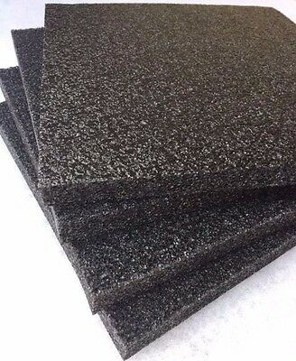 "4 pack 1"" x 12"" x 12"" Black Polyethylene foam 1.7pcf *FREE SHIPPING"