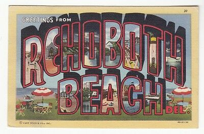 [62229] 1946 LARGE LETTER POSTCARD GREETINGS from REHOBOTH BEACH, DELAWARE