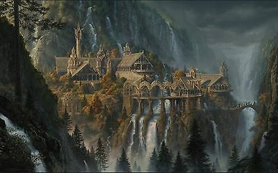 "Printed mouse mat an artists impression"" Rivendell from The Lord of The Rings"""