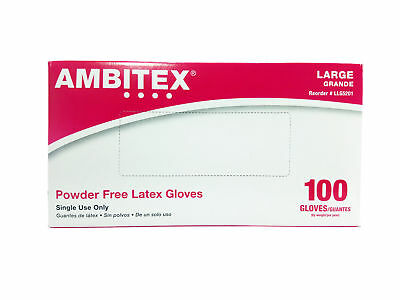 Ambitex LLG5201 Large Disposable Gloves, Latex, Cream (100 Glove, Box)