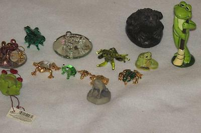 Lot of 14 Frogs Frog Figurines  Statues Glass Brass Pin figures collectible