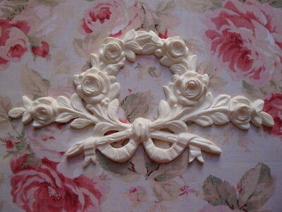 NEW! Large Rose Stem/Branch Wreath Furniture Applique Architectural Pediment