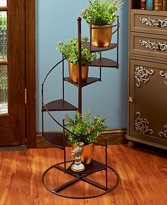 Spiral Staircase Plant Stand Picture Figurine Display Potted Plants Home Decor