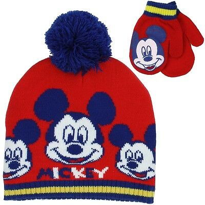 Mickey Mouse Boys Winter Hat & Mittens Set