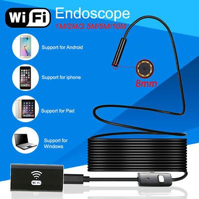 8mm WIFI 6LED IP67 Android IOS Endoscope Borescope Inspection Camera Scope 1-5M