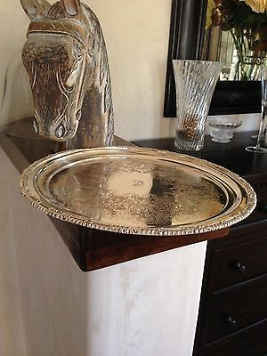 """Antique England Silverplate Round Tray (14.5"""") Intricate Pattern Stamped R"""