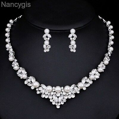 Elegant Pearl Crystal Necklace and Earrings Bridal Wedding Jewellery Set