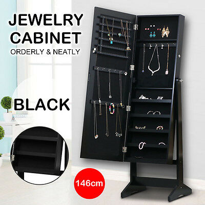 Mirror Jewellery Cabinet Makeup Storage Jewelry Organiser Box Tall AU