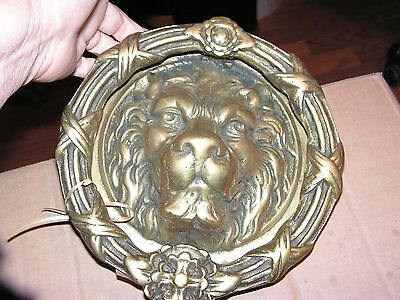 Large Vintage Solid Antique Brass  Lion Head Front Door Knocker