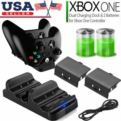 XBOX ONE Dual Charging Dock Station Controller Charger w/2 Rechargeable Battery