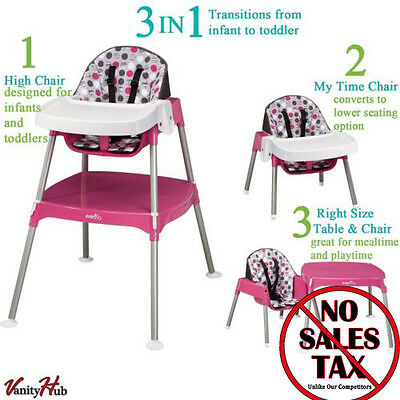Convertible High Chair Baby Table Seat Booster Toddler Feeding Highchair 3-in-1