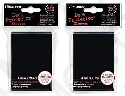 100 2pk ULTRA PRO Deck Protector Card Sleeves Magic Pokemon Standard Black