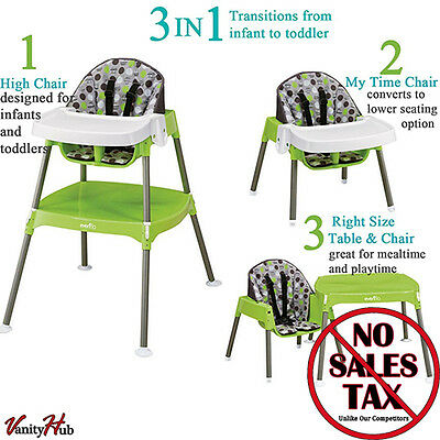 Convertible High Chair Booster Seat Baby Table Toddler Feeding Highchair 3-in-1