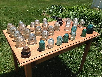 Large Estate Lot of 32 - Pennsylvania Glass Railroad / Telephone Insulators