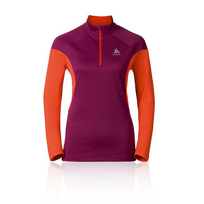 Odlo Versilia Damen Langarm Laufshirt Jogging Top Funktionsshirt Orange Lila