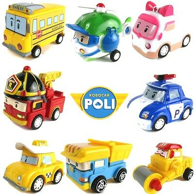 Kids 8 Pcs Robocar Poli Action Figure Rescue Services Poli Amber Helly Xmas Gift