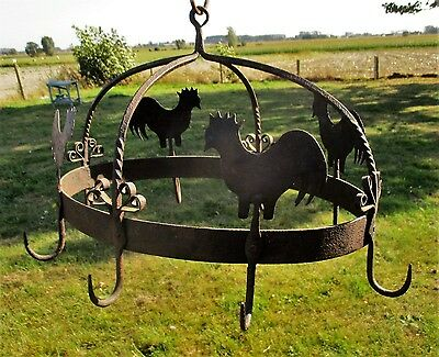 antique Hanging Butcher Rack Cast Wrought Iron 8 hooks Roosters French Rustic