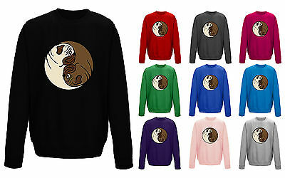 Pug Yin Yang Dog Funny Cute Symbol Unisex Sweater Sweatshirt Jumper NEW