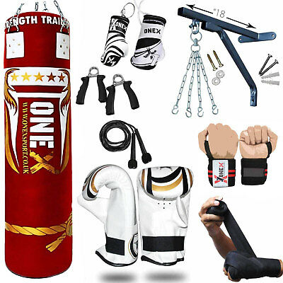 5ft heavy Filled Boxing Punch Bag, 13 Pcs Set,Gloves,Bracket,Chains MMA Pad