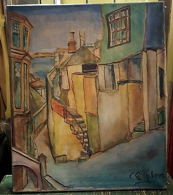 Original Oil Painting 20th. Century Signed Penzance Cornwall Townscape 1930s