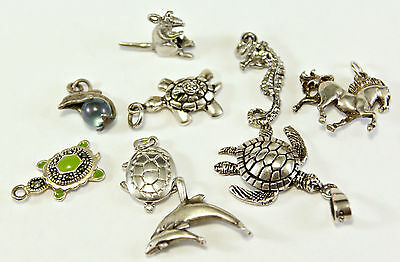 Lot of 9  Vintage Sterling Silver 925 ANIMALS Charms Pendant 16.4 grams
