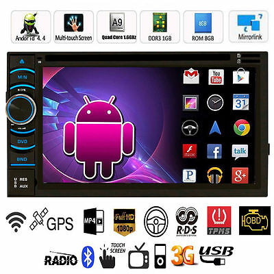 "Double DIN 6.5"" Android FM Wifi GPS Nav Car In Dash USB SD AUX MP3 CD DVD Player"