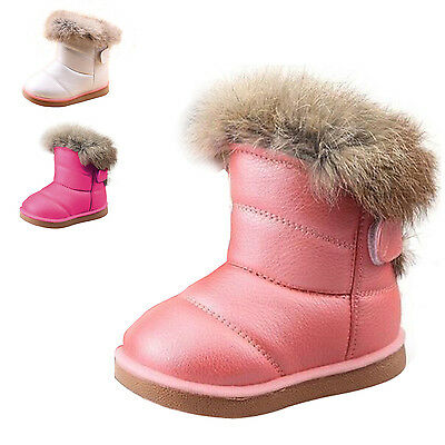 HOT Children Kids Baby Girls Winter Warm Snow Boots Fur Lined Leather Flat Shoes