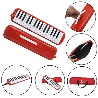Red IRIN 37 Key Piano Style Melodica Musical Instrument & Carrying Case