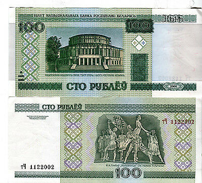Belarus 100 Rubles P26 2000 Millennium Russia Unc Currency Bill Money Bank Note