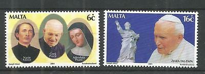 Malta 2001 Pope John Paul  Sg,1209-1210 Um/m Nh Lot 1034A