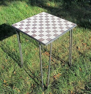 Vintage Small Side Table Plant stand Mosaic tiles Checkered pattern