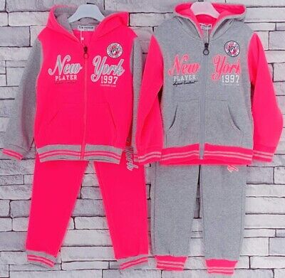 Girls Kids Winter Two Pieces Hooded Top & Joggers New York Jog Suits Tracksuits