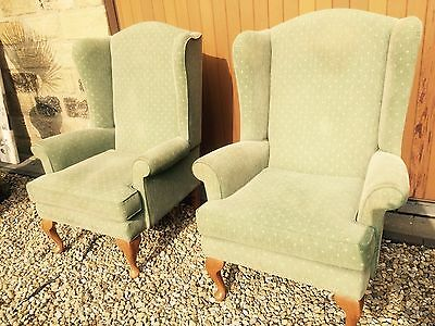 Pair Winged Arm chairs-REDUCED