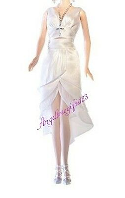 White short evening dress only fits Barbie model muse silkstone royalty