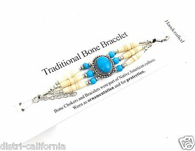 Bracelet Western Country Indien D'Amerique Traditionel Bone Chockers Os