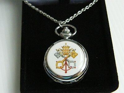 Papal Vatican Pope Cross Keys Seal Pendant Necklace Chain Pocket Watch Boxd Gift